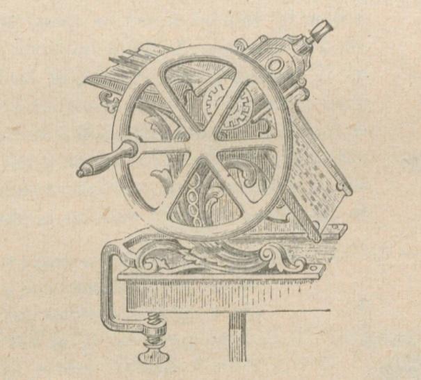 Angliška daržovių pjaustymo mašina, XIXa vid. Atkreipkite dėmesį į jos rėmelį.